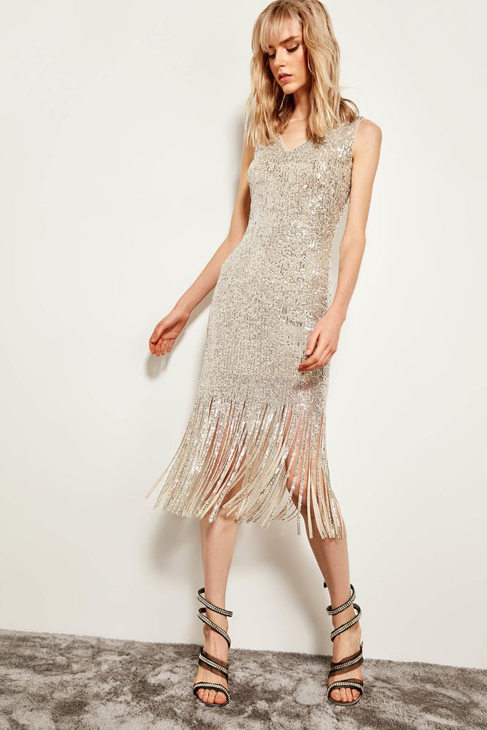 Sequin Beaded Short Evening Dress TKTPRAW19BE0012
