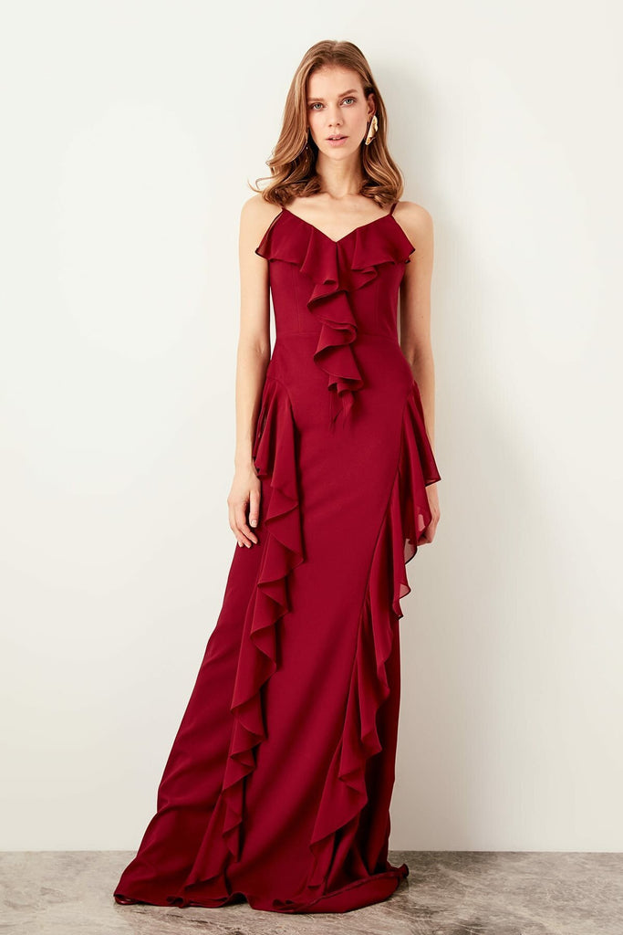 Spaghetti Strap V-Neckline Long Evening Dress TKTPRSS19ZP0014