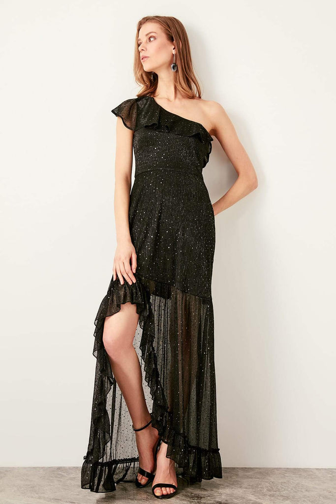 One Shoulder Sleeveless Long Black Evening Dress TKTPRSS19UT0060