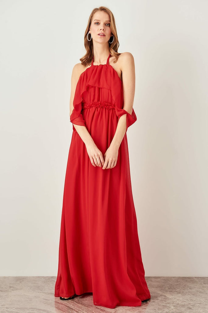 RED Halter Neckline Sleeveless Long Evening Dress TKTPRSS19FZ0102