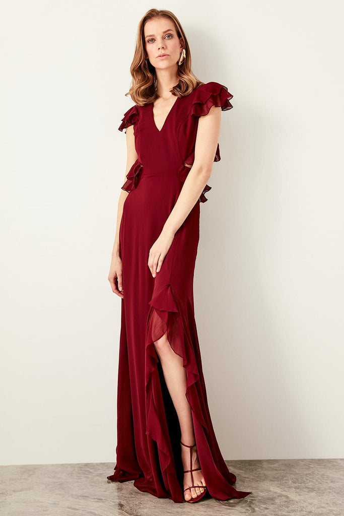 BURGUNDY Cap Sleeves V-Neckline Long Evening Dress TKTPRSS19FZ0288