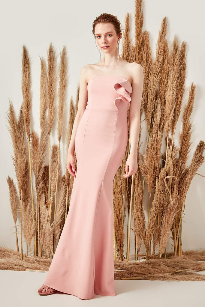 Bateau Neck Strapless Long Evening Dress TKTPRSS19BB0129