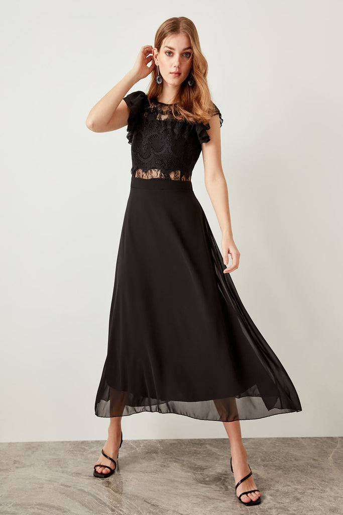 Scoop Neckline Cap Sleeves A-Line Long Evening Dress TKTPRAW19FZ0204