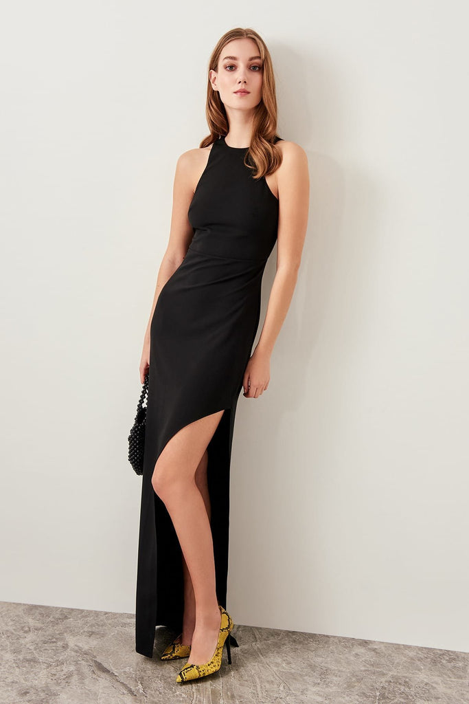 High Neckline Sleeveless Black Long Evening Dress TKTPRSS19FZ0226
