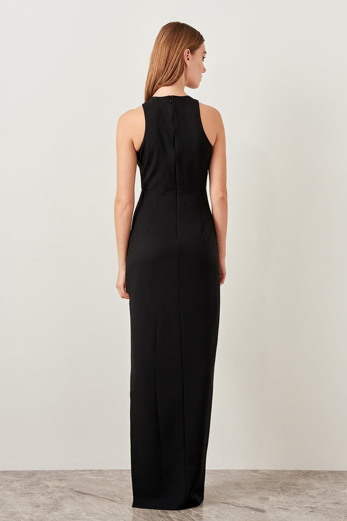 Halter Neckline Sleeveless Black Long Evening Dress TKTPRSS19FZ0226