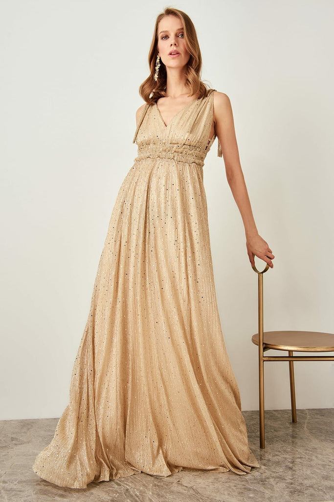 Sequined Sleeveless V-Neckline Long Evening Dress TKTPRSS19FZ0175