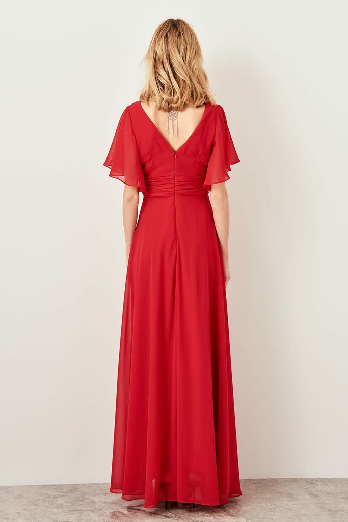 V-Neckline Short Sleeves Long A-Line Evening RED Dress TKTPRSS19ZP0003