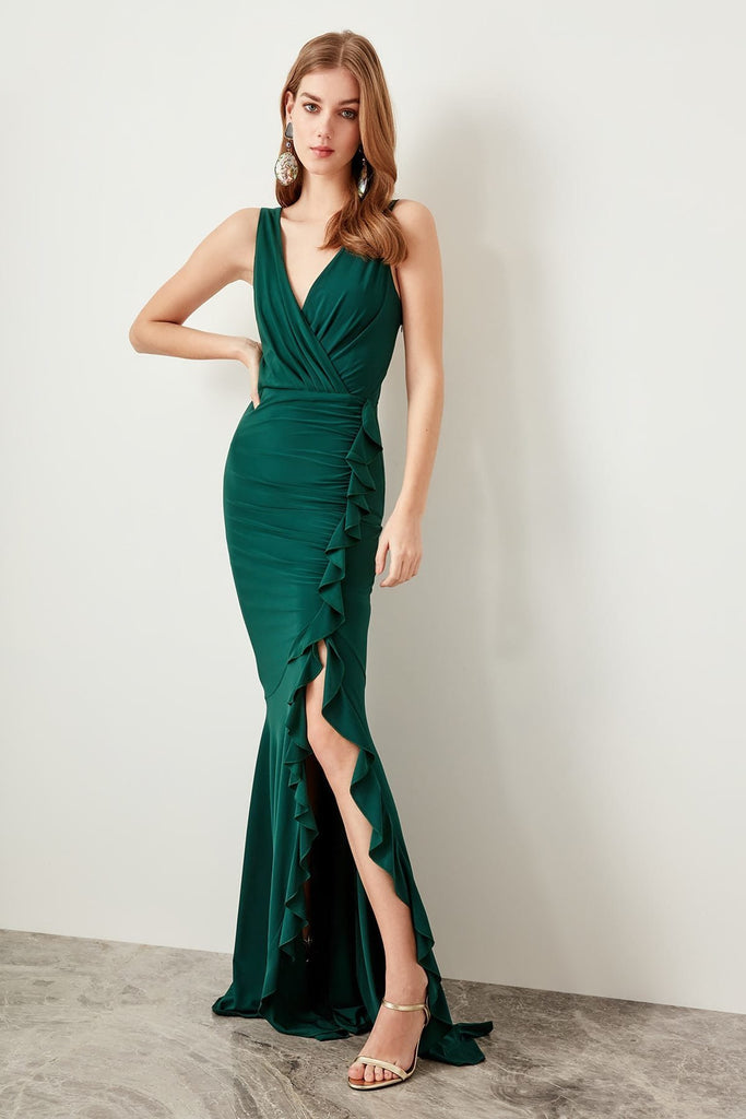 V-Neckline Sleeveless GREEN Long Evening Dress TKTPRSS19UT0026