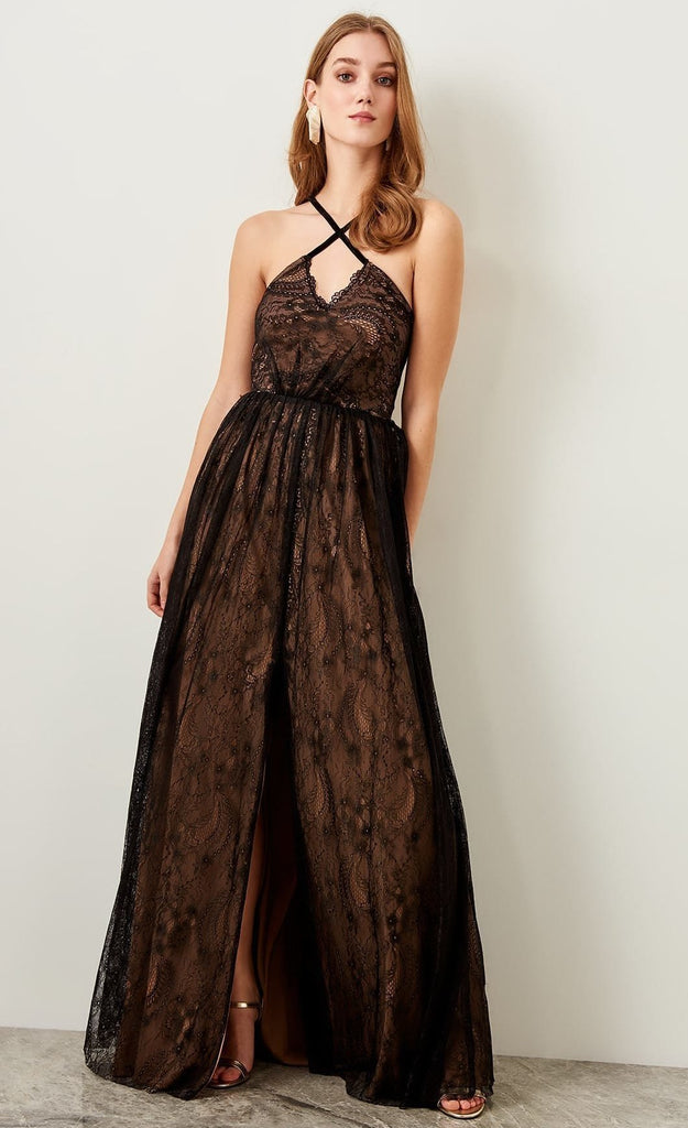 Halter Neckline Sleeveless Long Evening Dress TKTPRSS19UZ0046