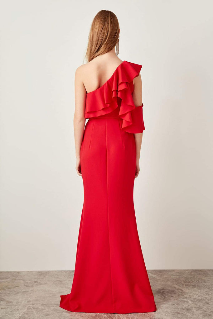 Red One-Shoulder Bridesmaid Long Dress TKTPRSS19FZ019