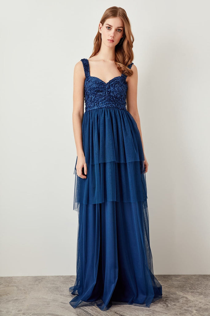 Sweetheart Neckline BLUE Long Evening Dress TKTPRSS19FZ0100