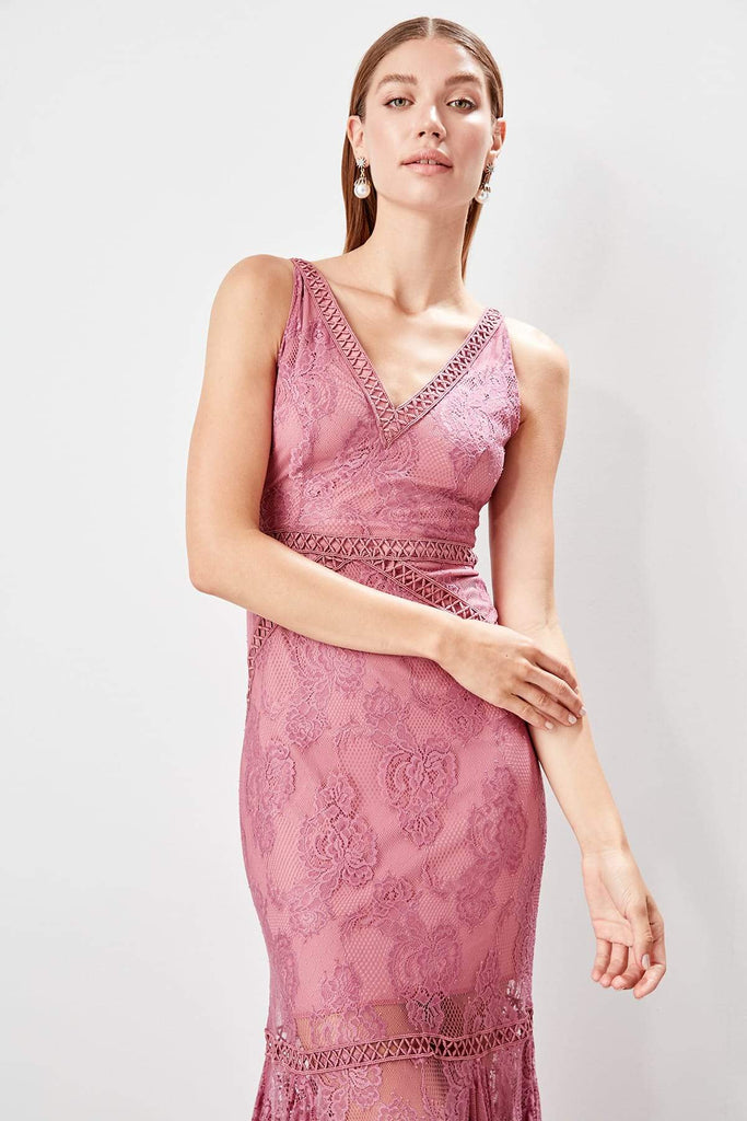 PINK V-Neckline Sleeveless Jeweled Long Evening Dress TKTPRSS19FZ0502
