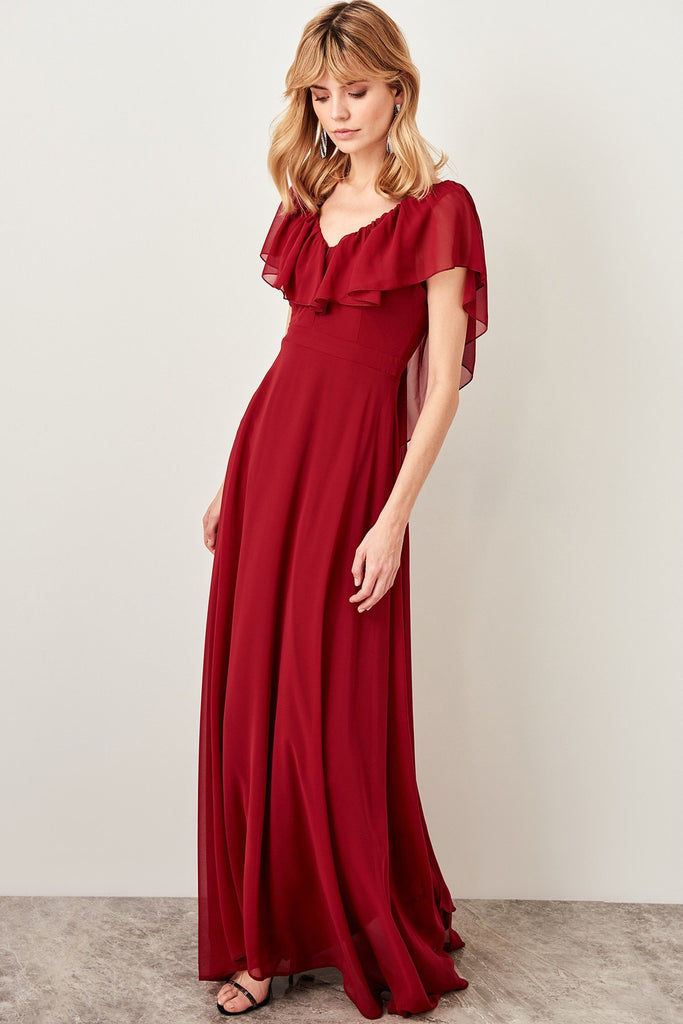 V-Neckline Cap Sleeves A-Line Long Evening Dress TKTPRSS19UT0064