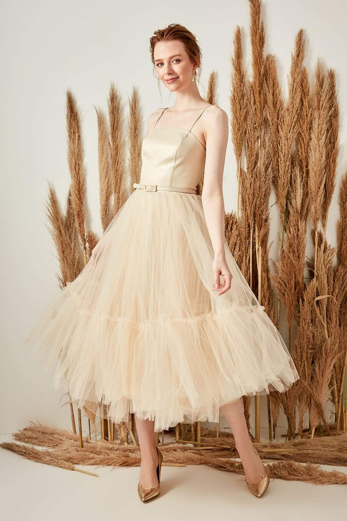 GOLD Spaghetti Straps Sleeveless Short Evening Dress TKTPRSS19UZ0081