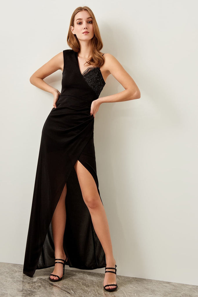 V-Neckline Sleeveless Leg Slit Long Evening Dress TKTPRSS19UT0052