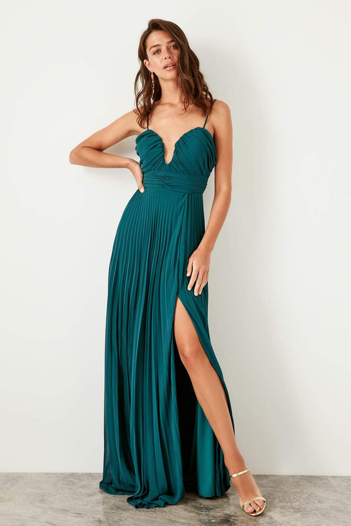 Sweetheart Neckline Leg Slit Long Evening Dress TKTPRSS19VF0015
