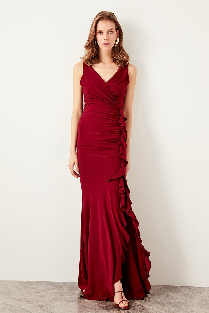 V-Neckline Sleeveless RED Long Evening Dress TKTPRSS19UT0026