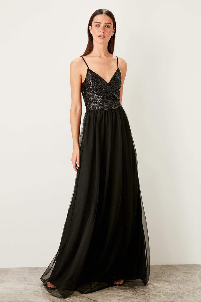 BLACK V-Neckline Sleeveless Long Evening Dress TKTPRSS19YL0012