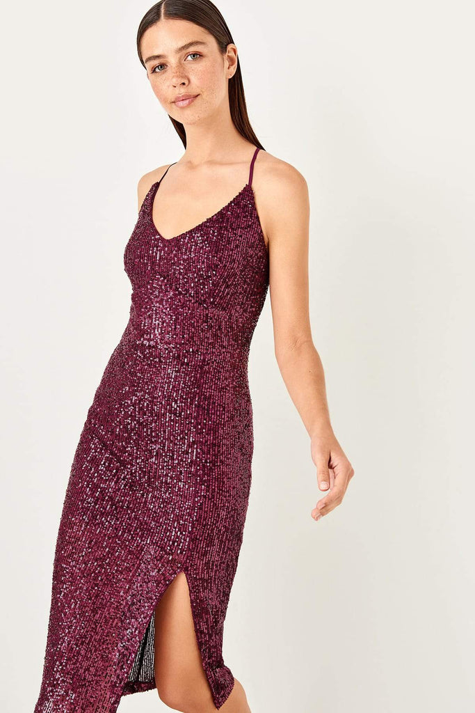 WINE Sequined Scoop Neckline Short Sheath Party Dress TKTPRSS19YL0024