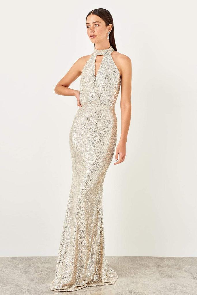 Halter Neckline Sequined Mermaid Long Evening Dress TKTPRSS19YL0023