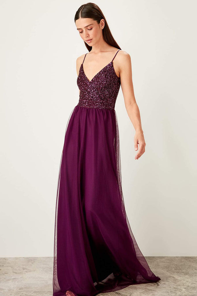 V-Neckline Sleeveless Beaded Bodice Long Evening Dress TKTPRSS19YL0012