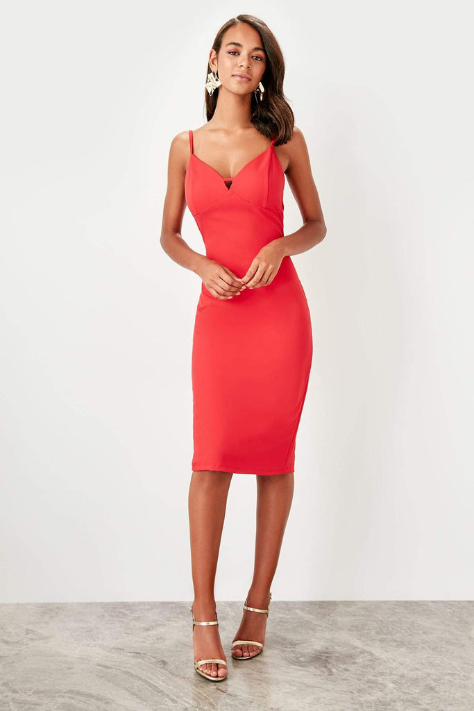 V-Neckline Sleeveless Short Evening Dress TKTPRSS19FZ0415