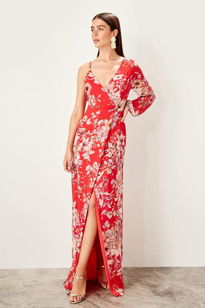 V-Neckline Floral Bodice Leg Slit Long Evening Dress TKTPRSS19UT0107