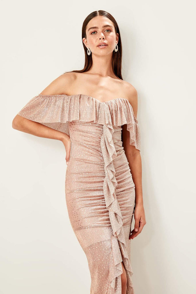 Off-Shoulder Pleated Long Mermaid Dress TKTPRSS19UT0136