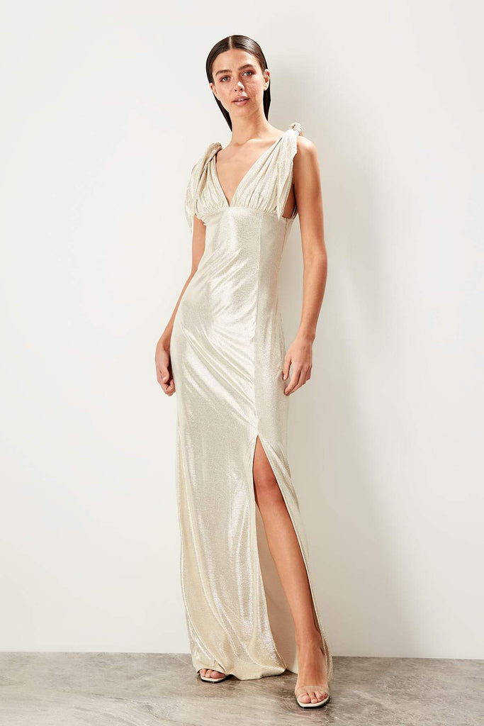 Sleeveless Leg Slit Long Evening Dress TKTPRSS19SE0109