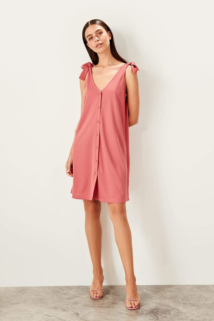 PALE PINK Mini V-Neckline Short Casual Dress TKTWOSS19VG0255