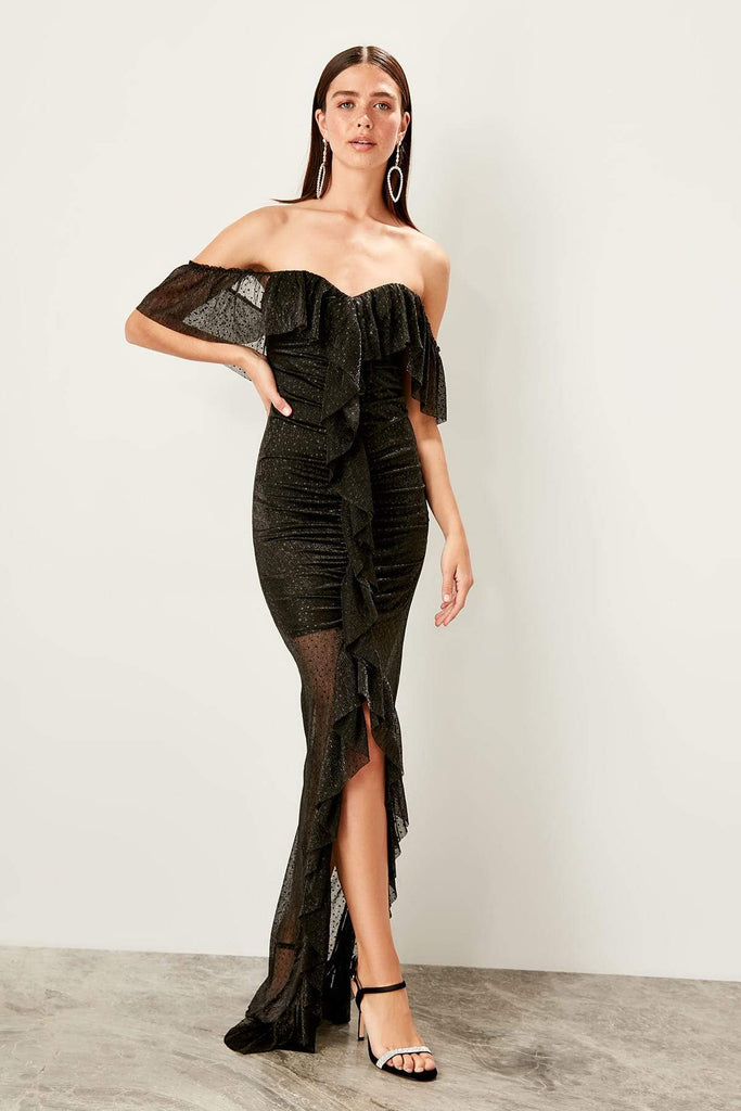 BLACK Off-Shoulder Leg Slit Long Mermaid Dress TKTPRSS19UT0136