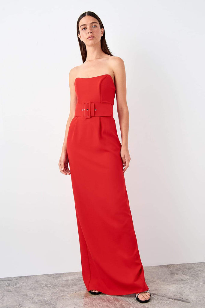 RED Sweetheart Neckline Sleeveless Long Evening Dress TKTPRSS19FZ0574