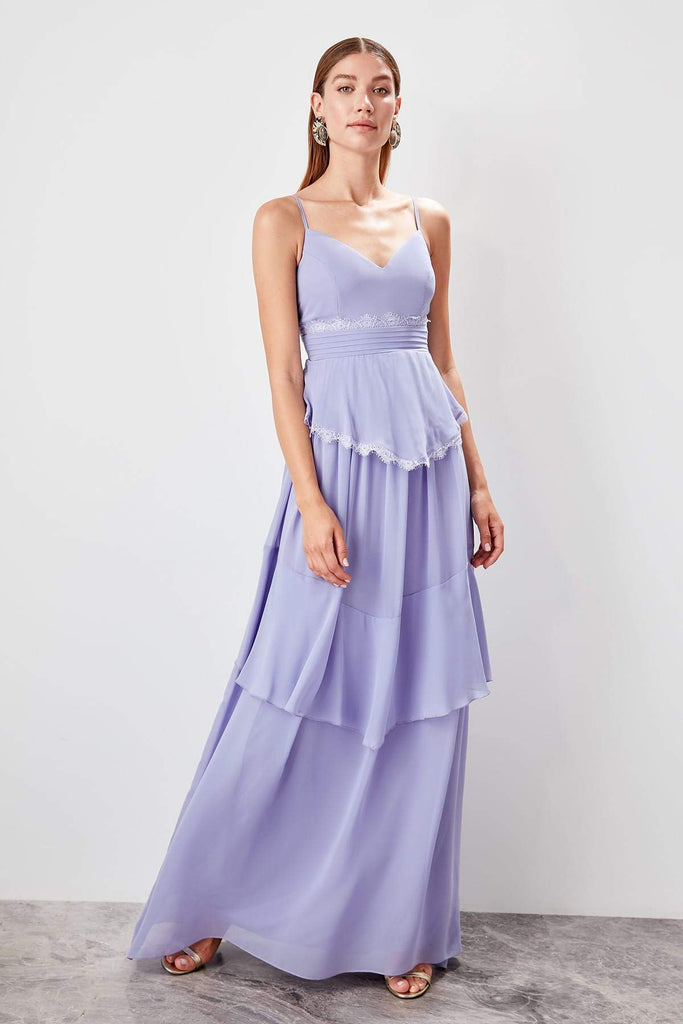 Spaghetti Straps V-Neckline Long Purple Evening Dress TKTPRSS19AE0014