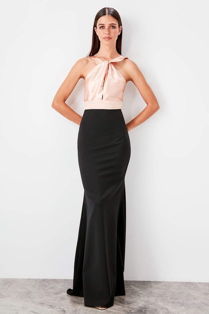 High Neckline Mermaid Shape Long Evening Dress TKTPRSS19AE0023