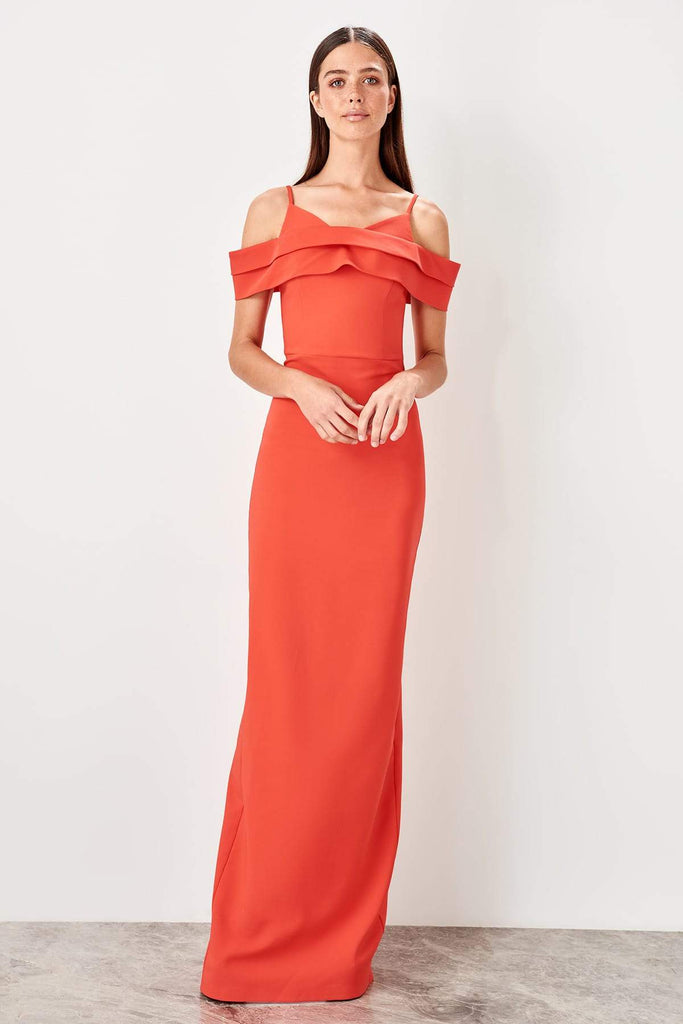 ORANGE Off-Shoulder Mermaid Long Evening Dress TKTPRSS19AE0065
