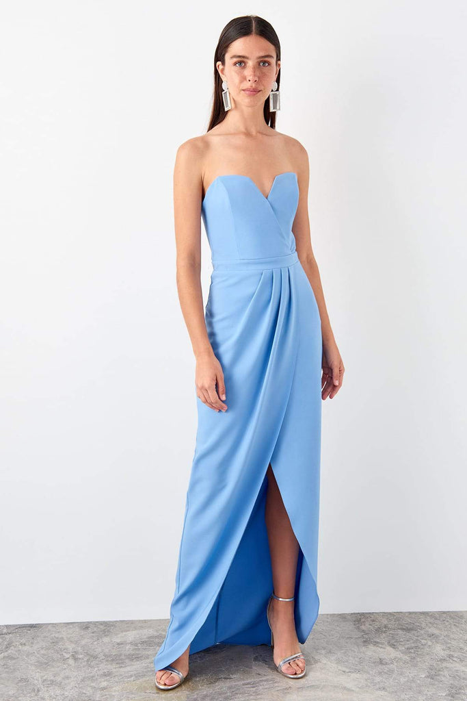 BLUE Strapless V-Neckline Evening Dress with High-Low Length TKTPRSS19AE0092