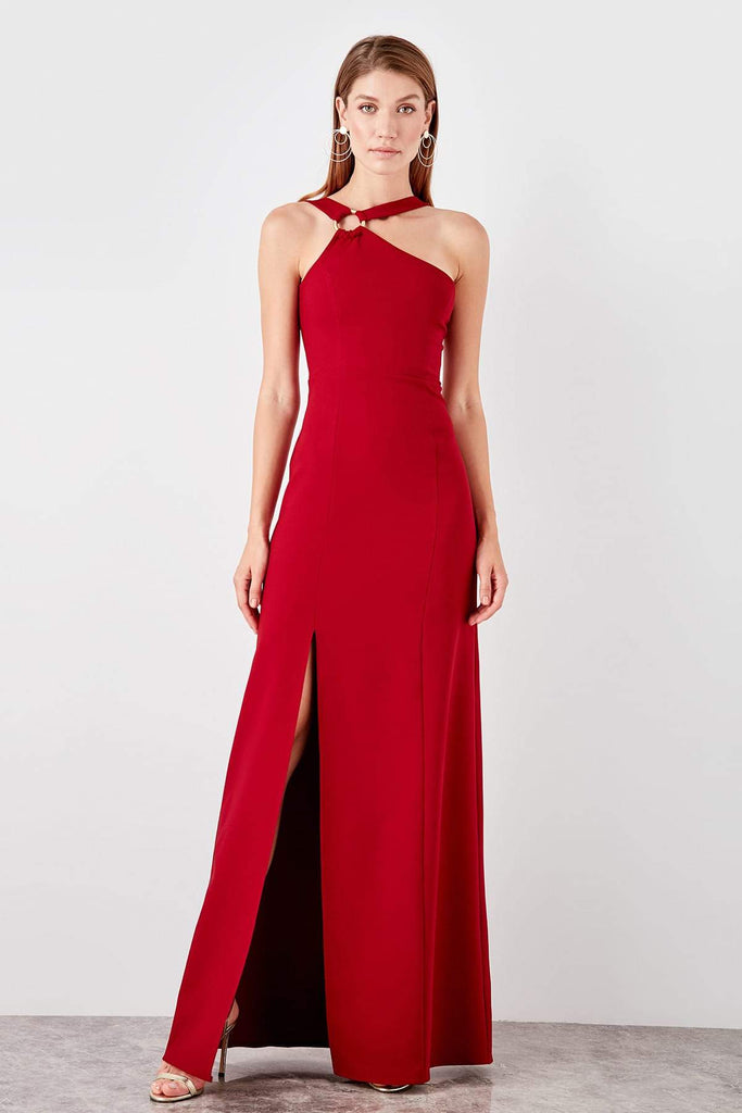 Halter Neckline Sleeveless Long Leg Slit Evening Dress TkTPRSS19AE0109