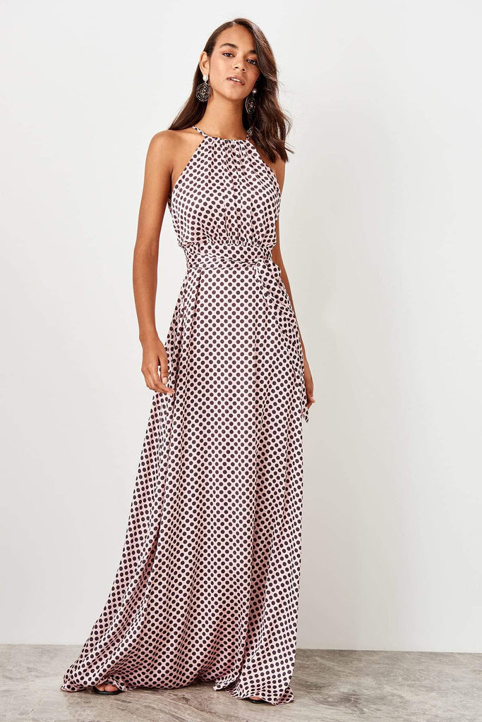 Dotted Brown High Neckline Sleeveless Long Evening Dress TkTPRSS19FZ0332