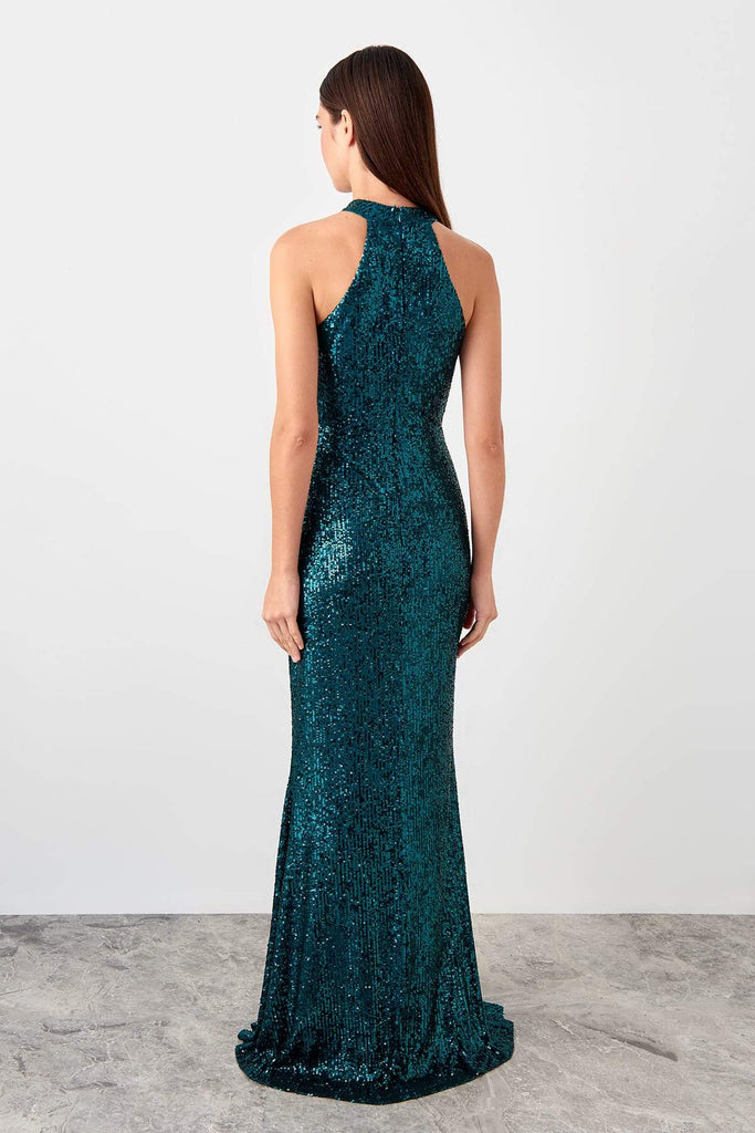 TEAL Sequined Bodice Long Evening Dress TKTPRSS19AE0147