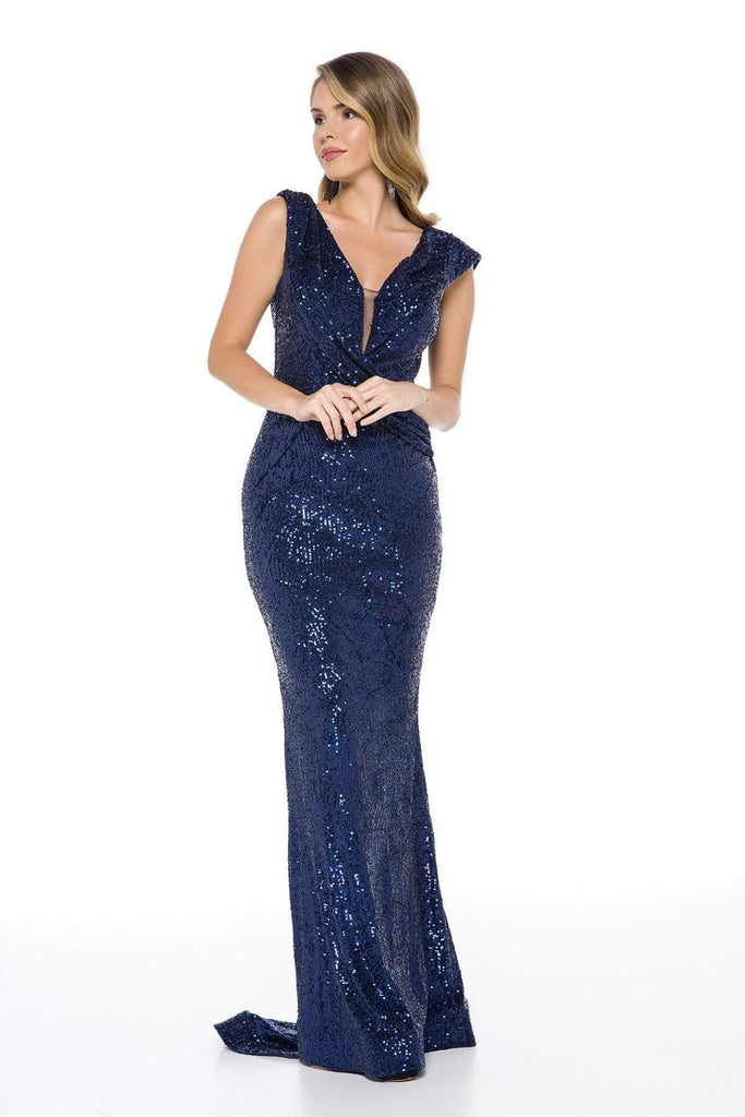 Royal Navy Sequined Mermaid Long Prom Dress TKLN82781