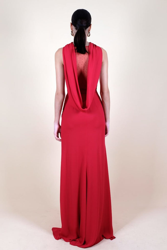 High Neckline Sleeveless Evening Red Dress TK60096550