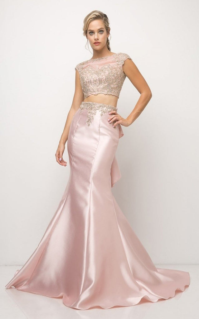 Evening Beaded Applique 2 Piece Satin Mermaid Dress Gown 2019 CD8984-Evening Dresses | alwaysprom.com-alwaysprom.com