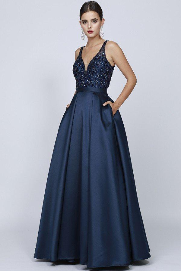 Wholesale Long Ballgown Dress with V Neck JT682-Long Dresses | alwaysprom.com-alwaysprom.com
