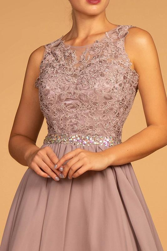 2019 NEW Embroidered-Lace-Applique Bodice Chiffon Short Homecoming Dress GSGS1623