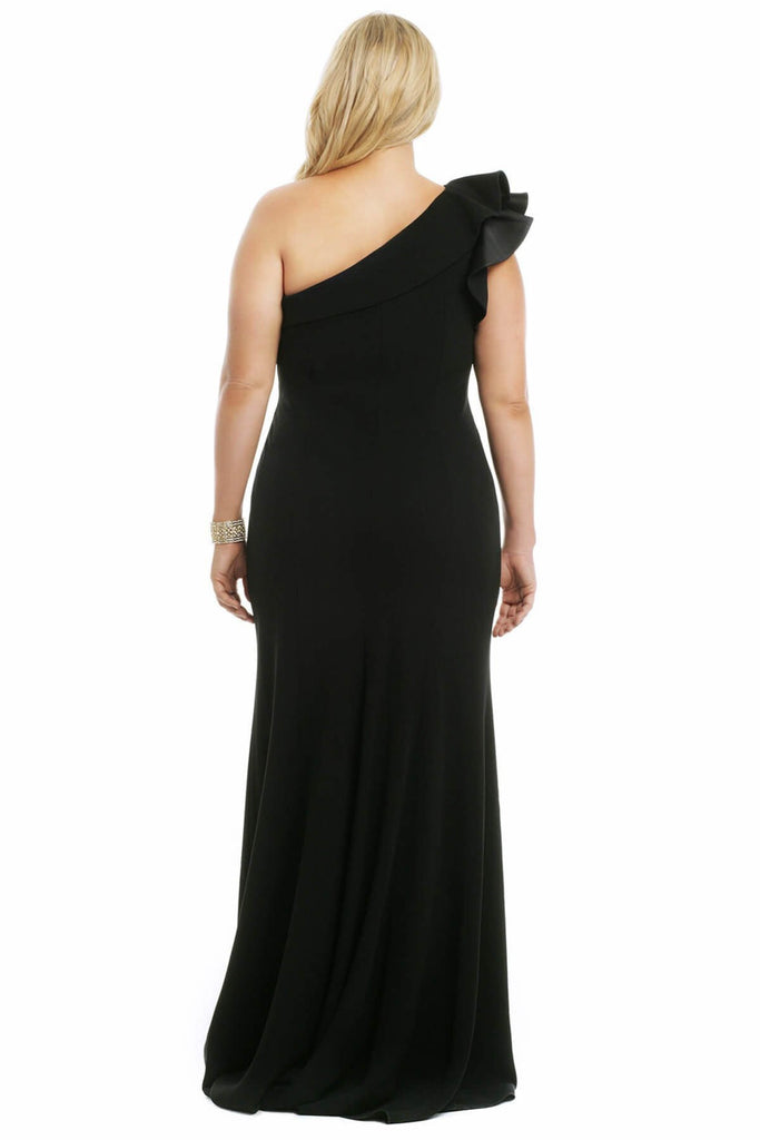 One Shoulder Sleeveless Long Evening Plus Size Dress TKfw01754eb