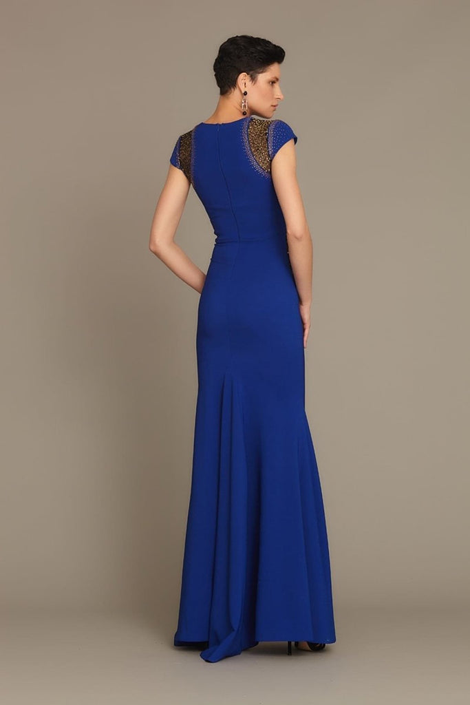 Cap Sleeves Sequined Long Evening Dress with Scoop Neckline TK752627