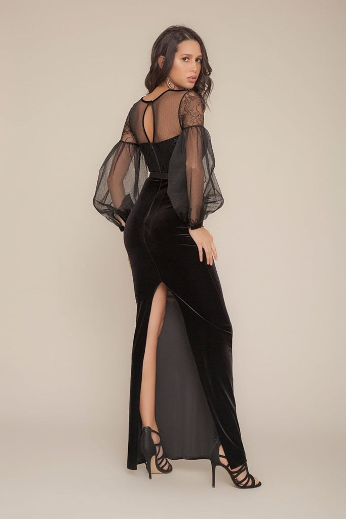 Illusion Neckline Long Sleeves Long Black Evening Dress TK752635