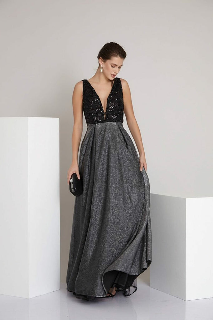 Sequined V-Neckline Sleeveless A-Line Long Evening Dress TK792437