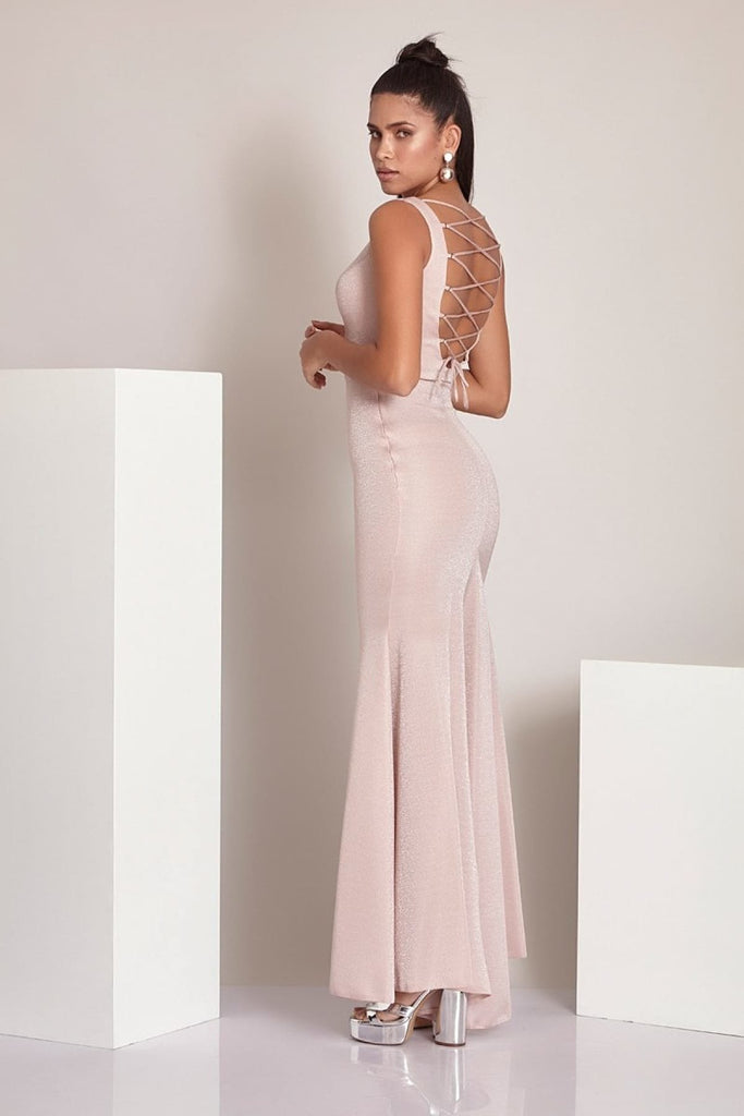 Deep V-Neckline Sleeveless Leg Slit Long Evening Dress TK786821