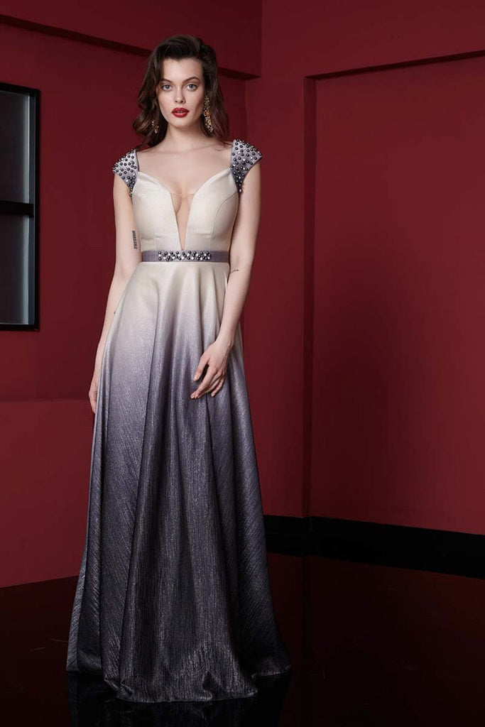 Deep V-Neckline Jeweled Long Evening Dress TK1101700